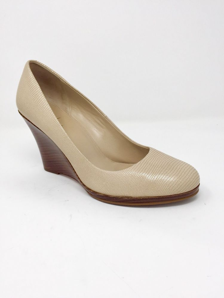 1e44d5c006a70 Cole Haan 11B Ladies Nude Snake Skin Round Toe Wood Wedge Pumps | eBay