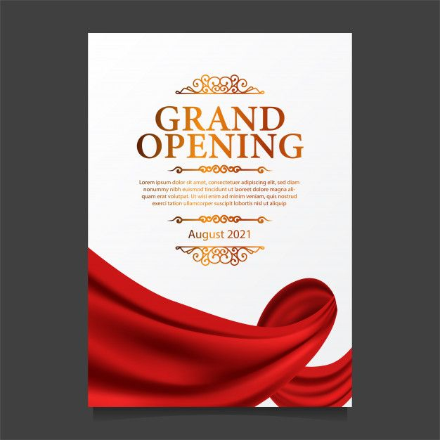 Grand Opening Card Template With Illustration Of Red Curtain Silk Shop Opening Invitation Card Grand Opening Card Template