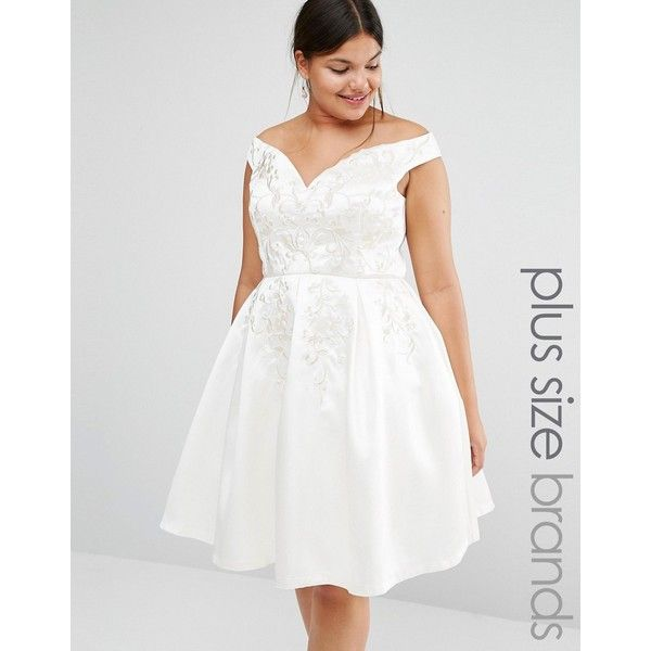 Chi Chi London Plus Off Shoulder Full Prom Midi Skater Dress With ...