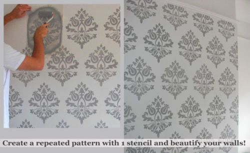Create Your Own Wallpaper Effect With This Damask Mofit Stencil
