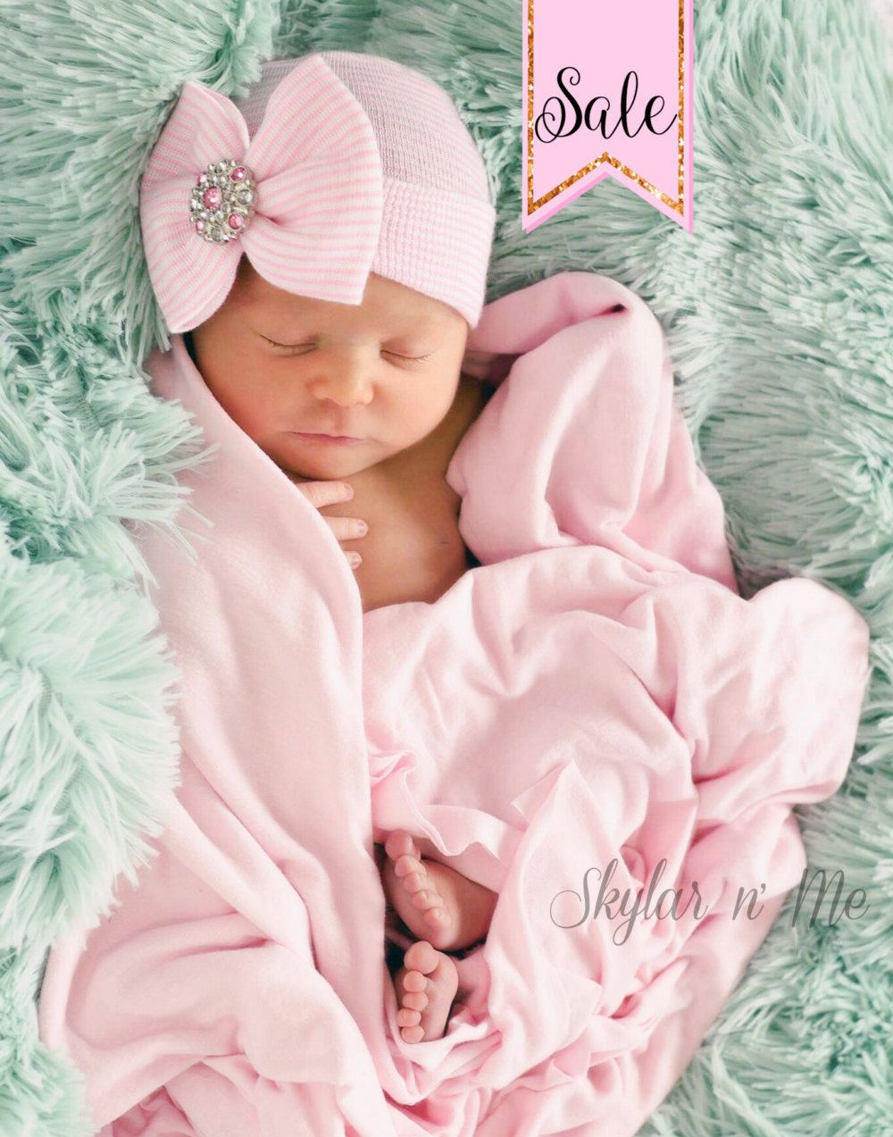 10cf284b5f6d1 ... newborn hospital hat bow baby girl hospital hat beanie with bow pink by  skylarnme on ...