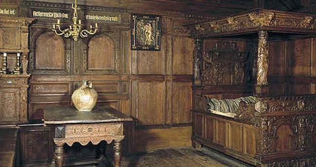 Billdet viser stue fra købmand Niels Christensens Købmandsgård i Ålborg 1602, nu i Nationalmuseet.