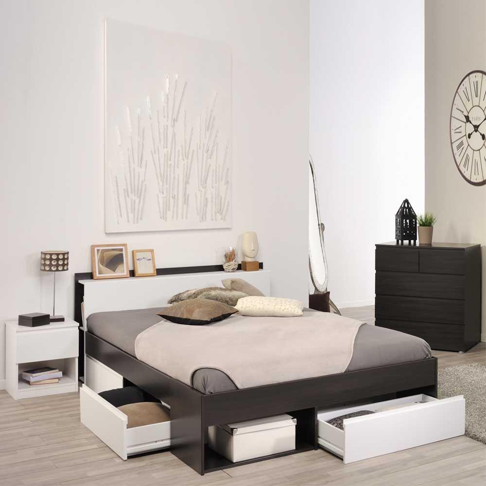 Schlafzimmermöbel Set in Braun Weiß komplett (3teilig