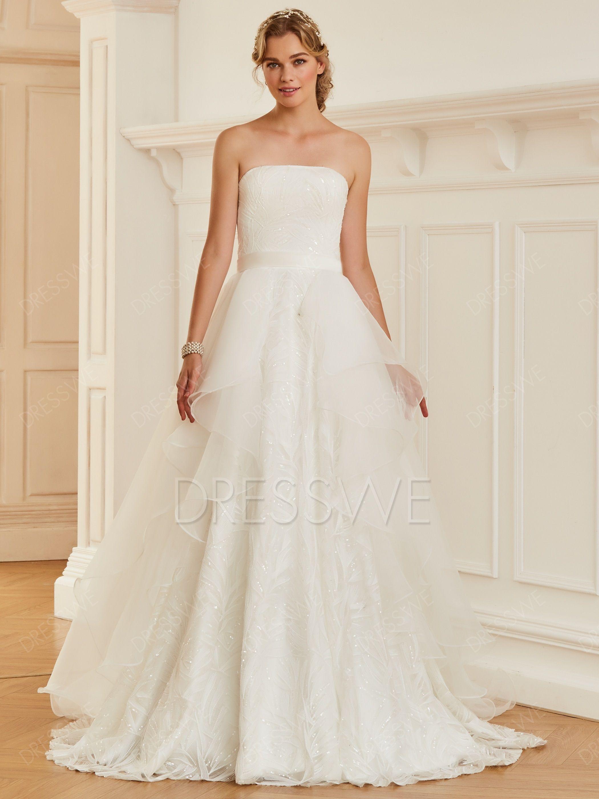 Strapless Sequins Court Train Floor Length Wedding Dress Material Organza