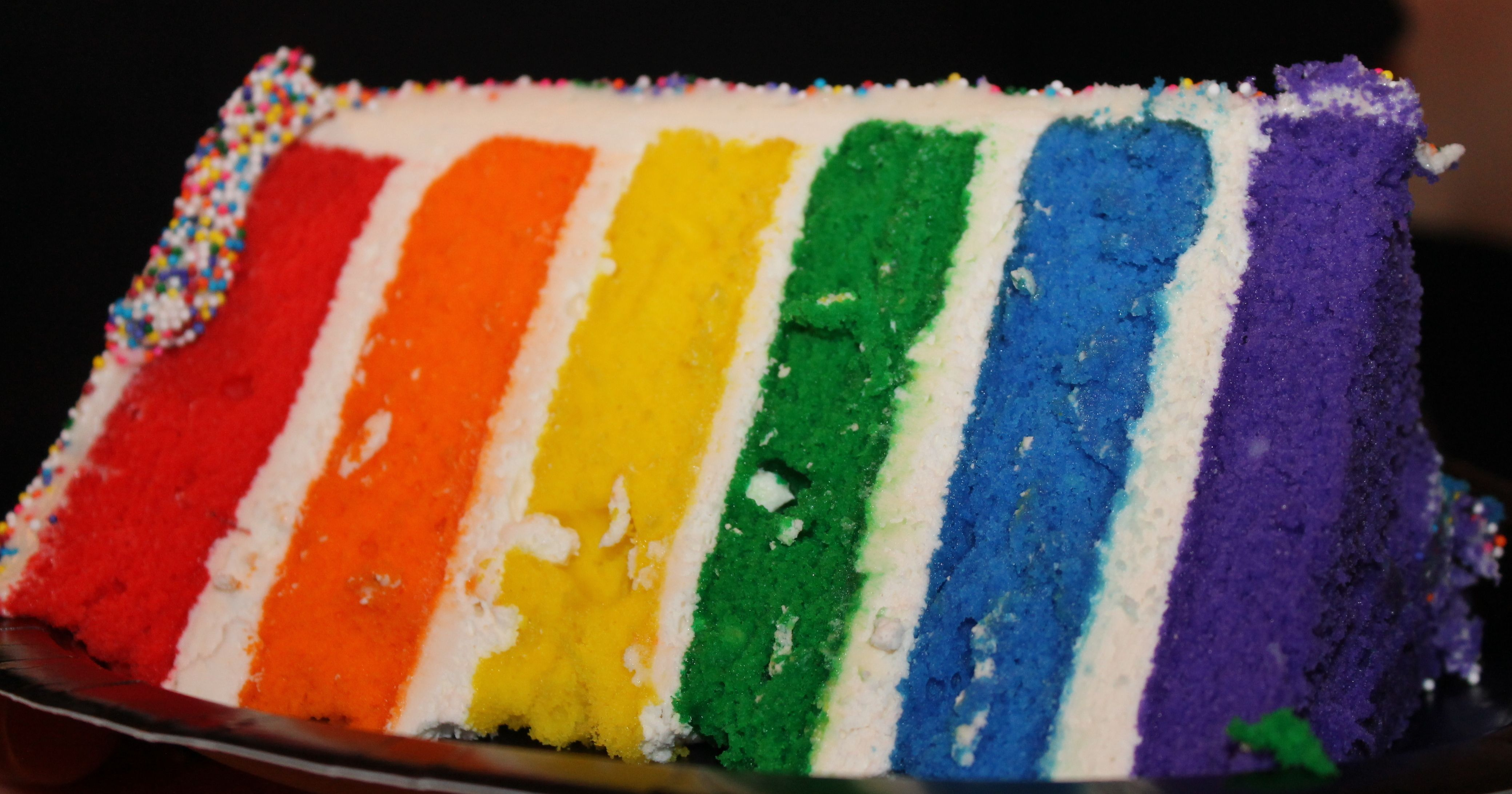 Rainbow cake  one box white cake mix will make two cakes.  Measure the amount so they are the same size.  Make sure to add at least a cup of frosting between layers to let the colors stand out.  This cake took 4 batches of icing!