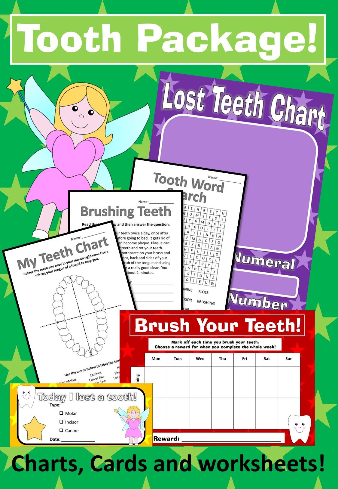 Tooth Package Lost Teeth Chart Brushing Teeth Chart