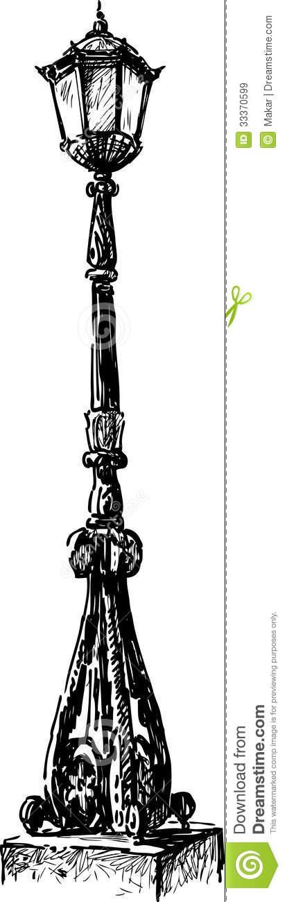 Old Street Lamp Vector Drawing Vintage Light 33370599