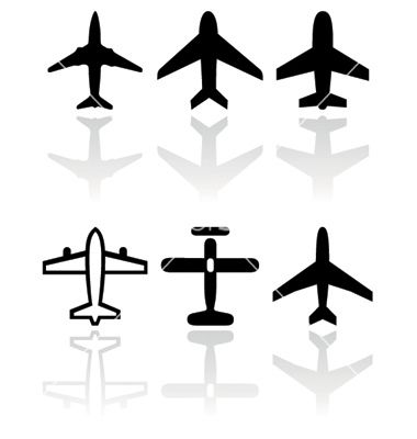 Airplane Symbol Set Vector Image On Vectorstock Airplane Tattoos Plane Tattoo Colorful Backgrounds