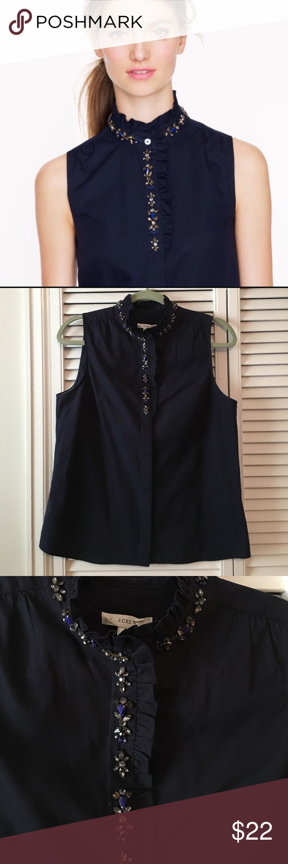J.Crew Navy Rhinestone Collar Top Great condition, only worn once! Measurements lying flat: -pit to pit:20' and shoulder to hem:25'. All rhinestones in place, lovely navy color. Collar has a small ruffle and shirt buttons down the front, but the buttons are hidden. Worn alone or layered under a sweater, this is a super cute shirt. Looser fits, I would say fits an 8 loosely and a 10 well. J. Crew Tops Button Down Shirts