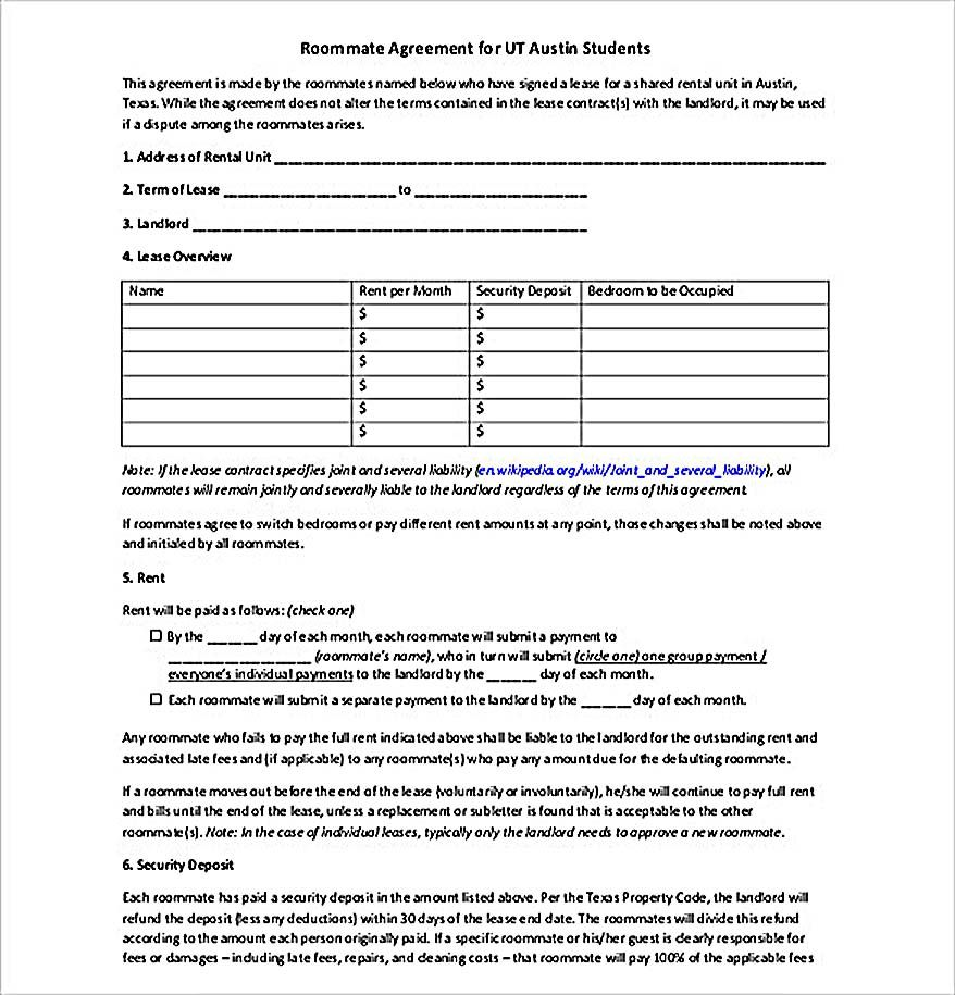 Free Roommate Agreement Template Download  How To Create Your
