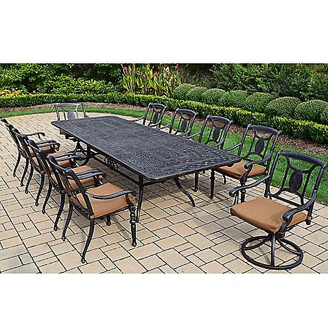 Oakland Living Victoria 11 Piece Extendable Outdoor Dining Set In Antique Black Oakland Living Patio Dining Furniture Patio Dining Set