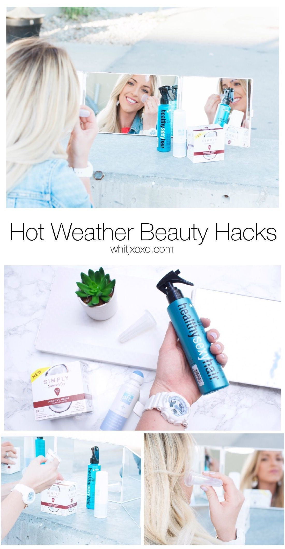 6 amazing hot weather beauty hacks to make your life and beauty routine a breeze in this heat! The more convenient the product- the better! whitjxoxo.com