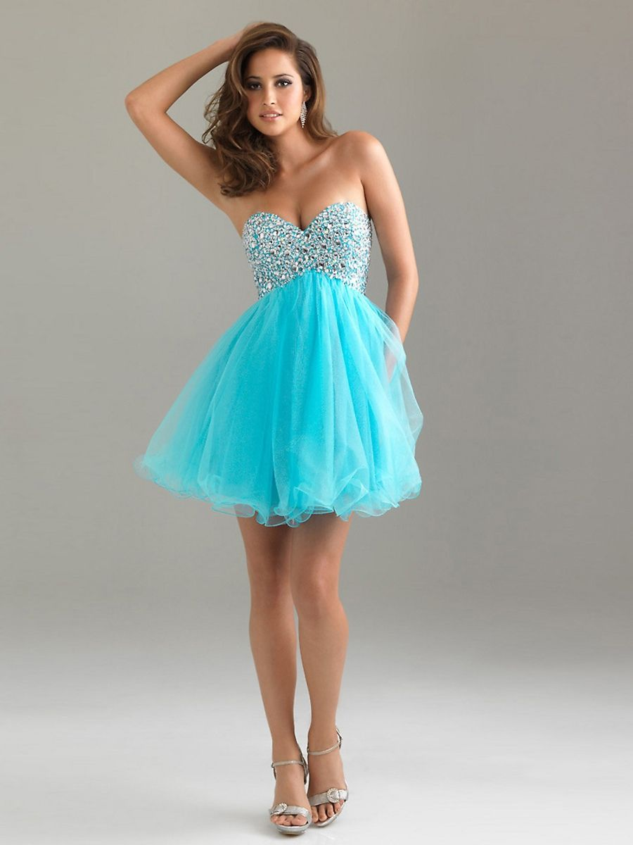Blue Sequined Tulle A-Line Strapless Sweetheart Neckline Sleeveless ...