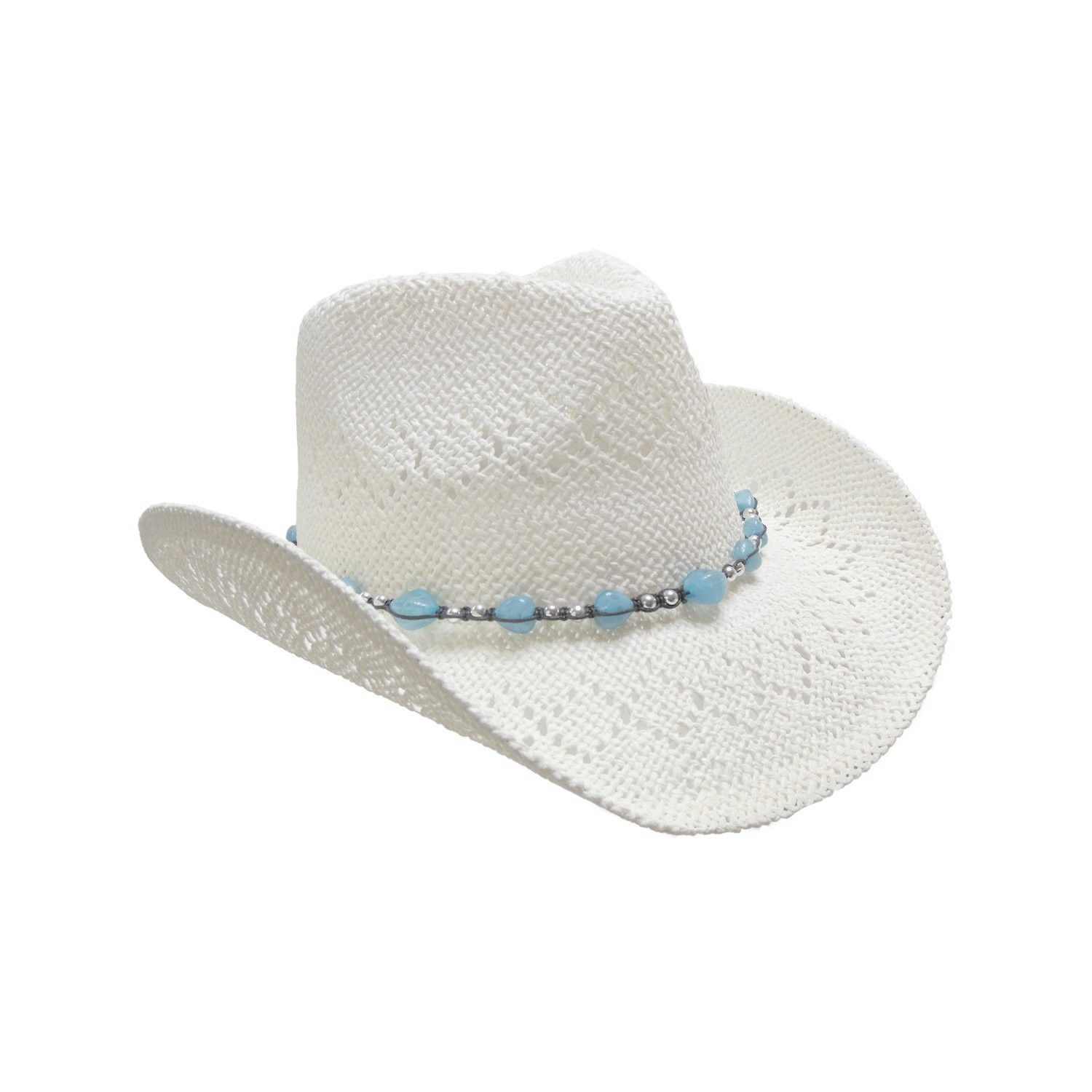 Straw Cowboy Hat for Women with Beaded Trim and Shapeable Brim - White -  CT11MAYBE41 - Hats   Caps 22707166e8a