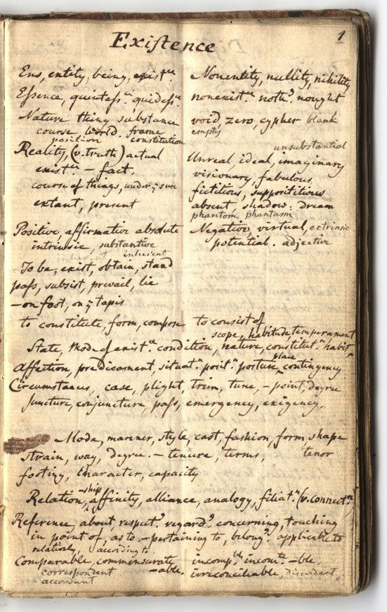 A page from the first draft of Roget's Thesaurus