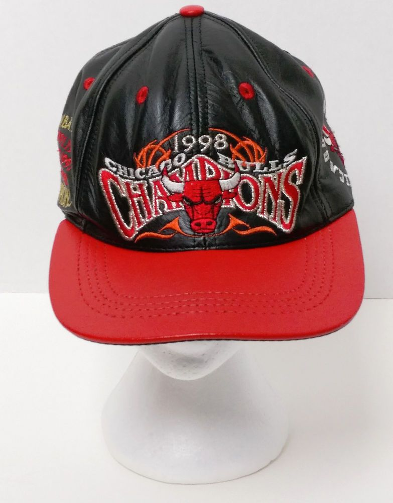 d08cdeee9a67b Vintage CHICAGO BULLS CHAMPIONS HAT Real Leather 90s JH Designs 1998  Retired HTF  JHDesignJeffHamilton  ChicagoBulls  leatherhat