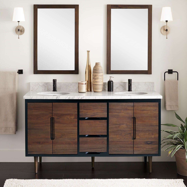 60 Bivins Teak Double Bathroom Vanity For Undermount Sink In Walnut Black Signature Hardware Double Vanity Bathroom Teak Bathroom Vanity Vanity Sink [ 1500 x 1500 Pixel ]