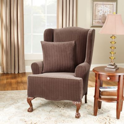 Sure Fit Stretch Pinstripe Wingback Chair Slipcover Bed Bath Beyond Slipcovers For Chairs Wingback Chair Slipcovers Furniture