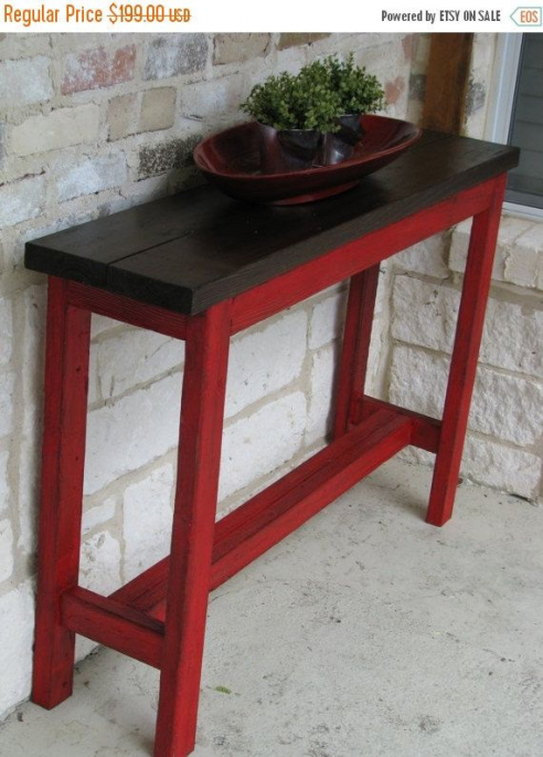This Beautiful Rustic Sofa Table Measures 38l X 11w X 30h And Has An Awesome Color Combo Of Red And Brown In 2020 Rustic Sofa Tables Diy Sofa Table Outdoor Sofa Table