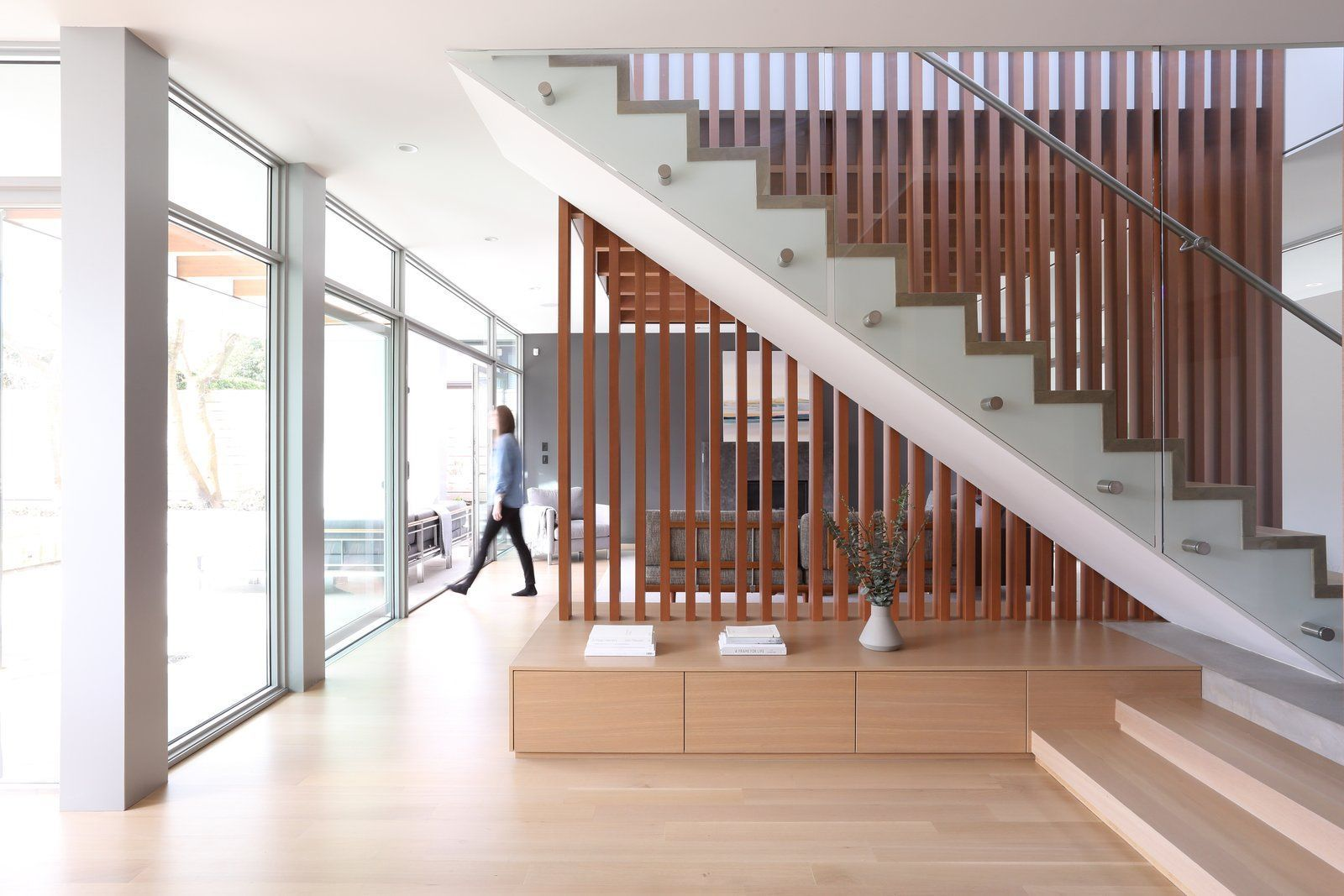 Staircase, Wood Tread, and Metal Railing The twolevel