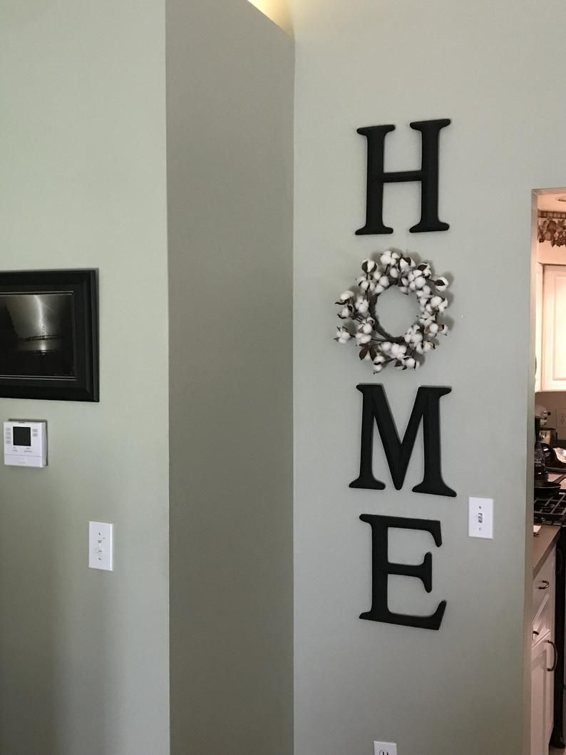 Photo of Home Letters, Home Letter Sign, Home Letters with Wreath as O, Farmhouse Home Sign, Home Decor Decorative Letters