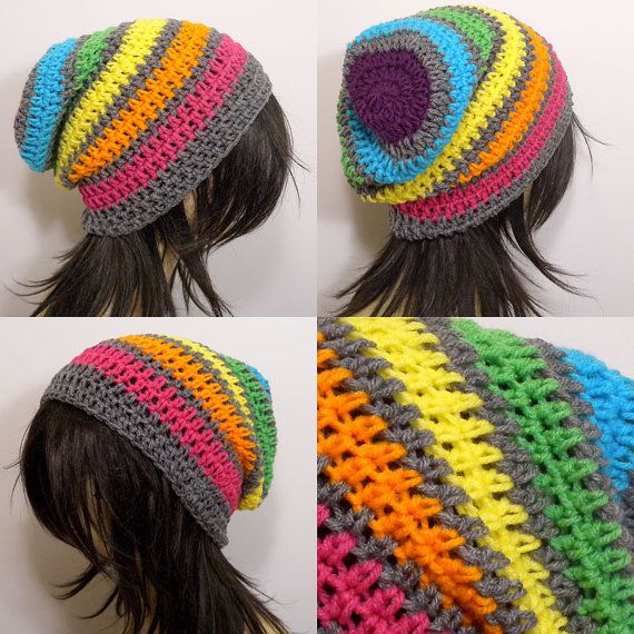 Slouchy Beanie Crochet Hat in Rainbow and Gray Stripes | Grau ...