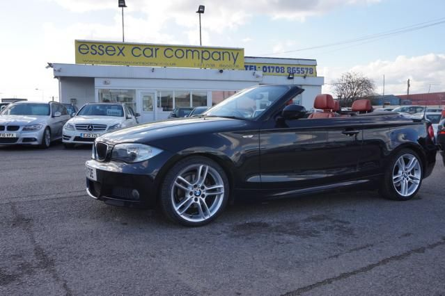 Used Bmw 1 Series Convertible Black With Red Leather For Sale In