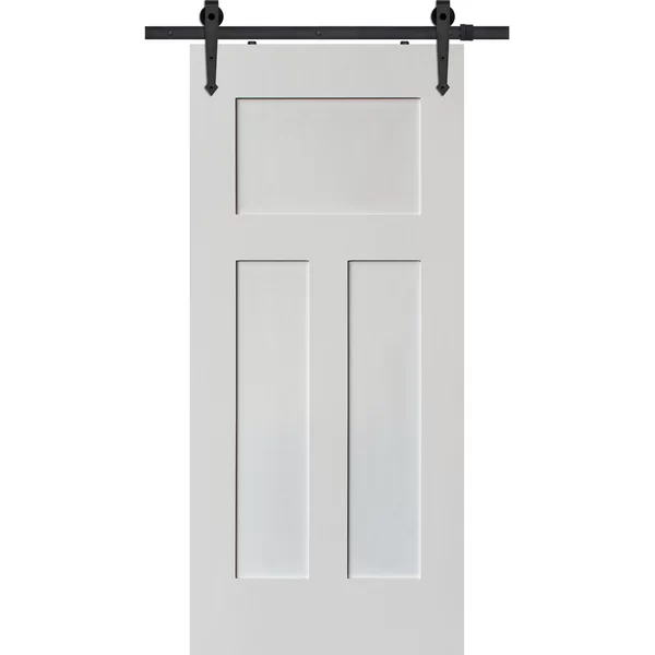 Paneled Manufactured Wood Primed Craftsman Barn Door Without Installation Hardware Kit Wood Doors Interior Barn Doors Sliding Barn Door Designs
