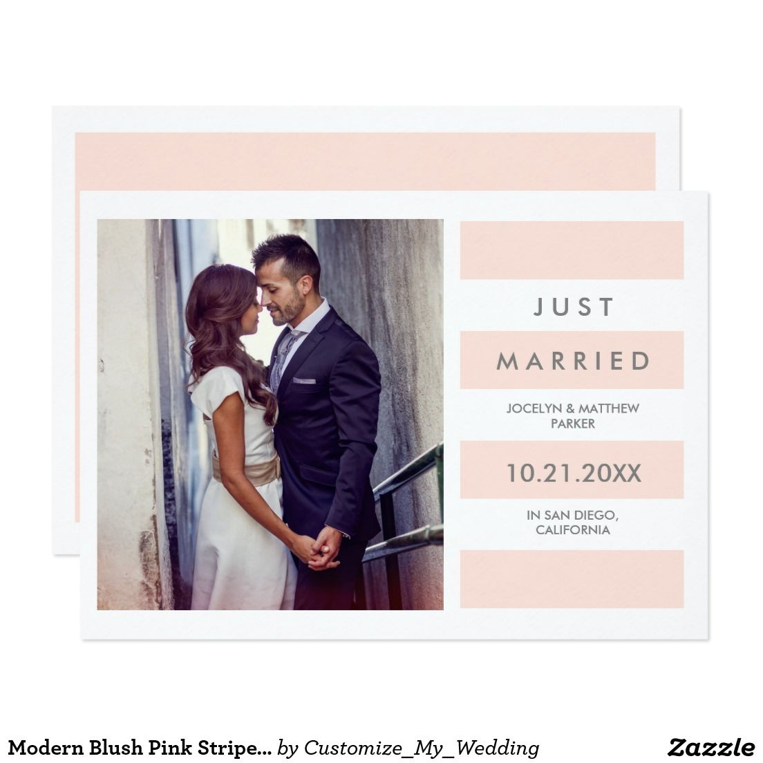 Modern Blush Pink Stripes | Just Married Photo Announcement | Lovely ...
