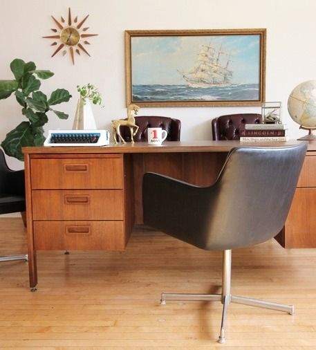 Mid Century Modern Executive Desk By Kimball Office Furniture Modern Mid Century Modern Office Furniture Mid Century Modern Office Desk
