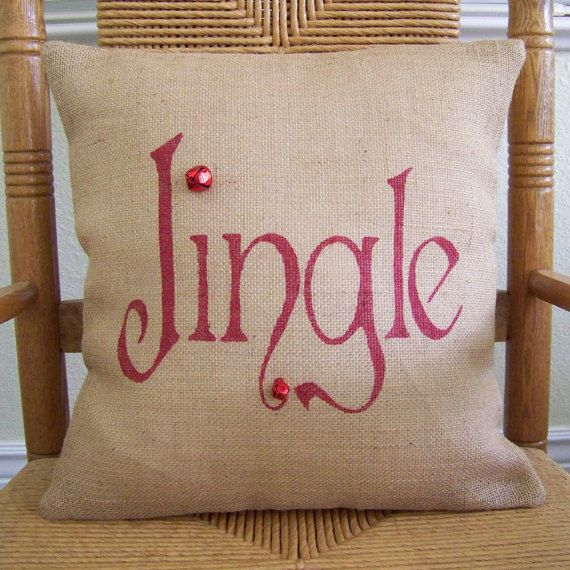 jingle pillow christmas pillow burlap pillow by kelleyscollections - Christmas Decorative Pillows