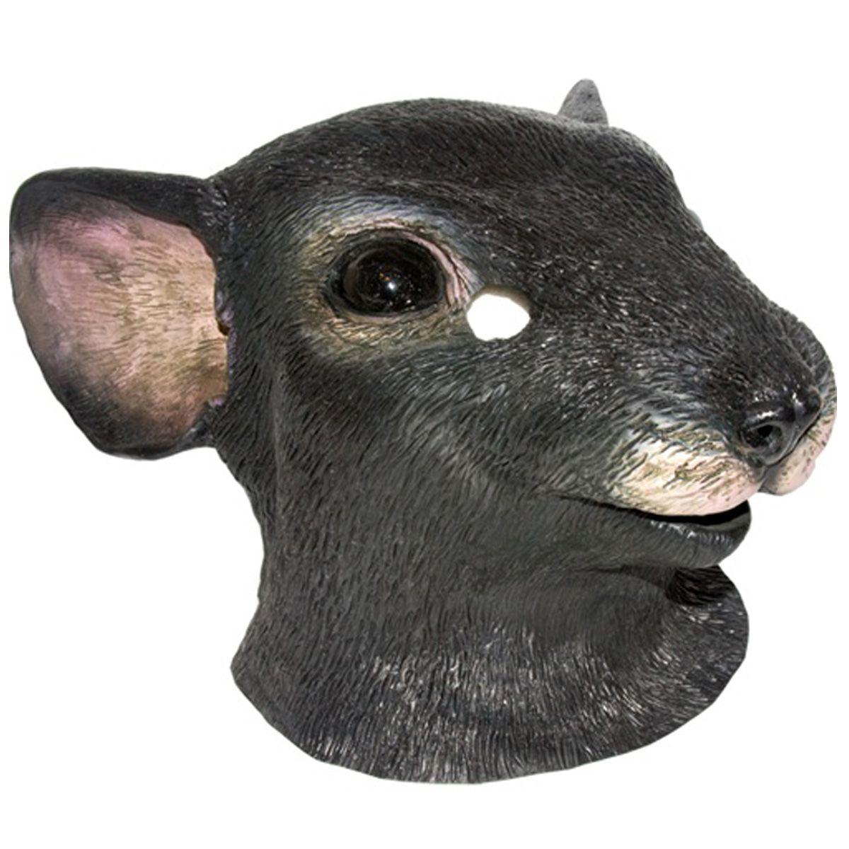Black Lifelike Mouse Rat Rodent Head Face Rubber Mask Adult ...