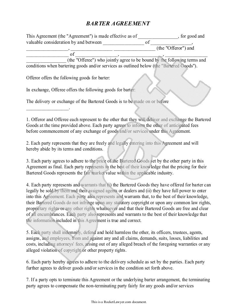 Sample Barter Agreement Form Template