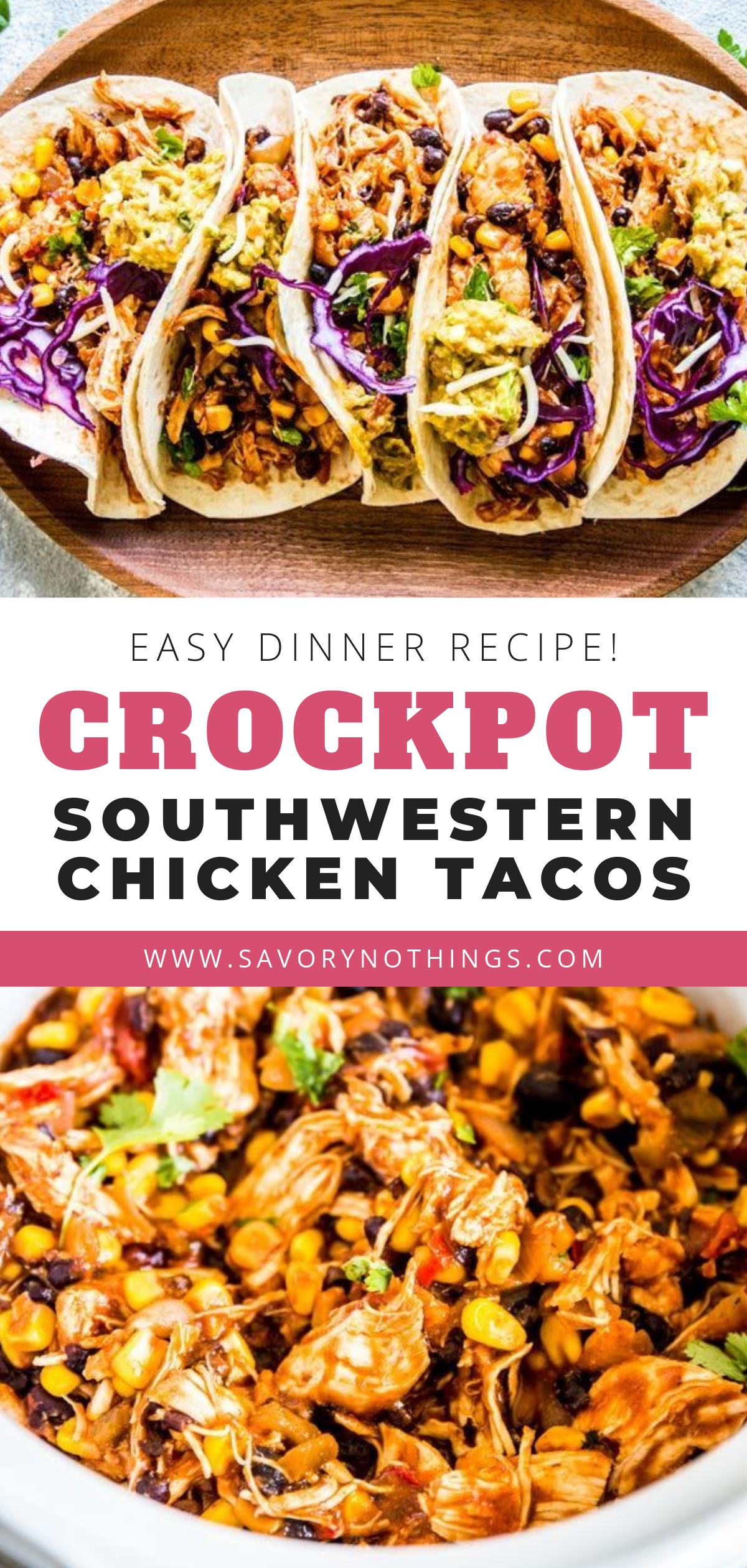 Southwestern Crockpot Chicken Tacos are so easy to make, you'll wonder why you haven't been making them all along! It will cook in your slow cooker all day long, then shred into tender Mexican chicken you can serve up with taco shells, guacamole and shredded cabbage. Put it on your meal plan this week! | #recipe #easyrecipes #dinner #easydinner #tacos #chicken #chickenrecipes #crockpot #crockpotrecipes #slowcooker #slowcookerrecipes #kidfriendly #healthyfood #healthyrecipes #mexicanchickentacos