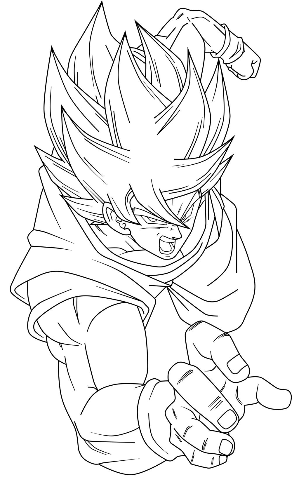 Goku SSJ Cooler Lineart by