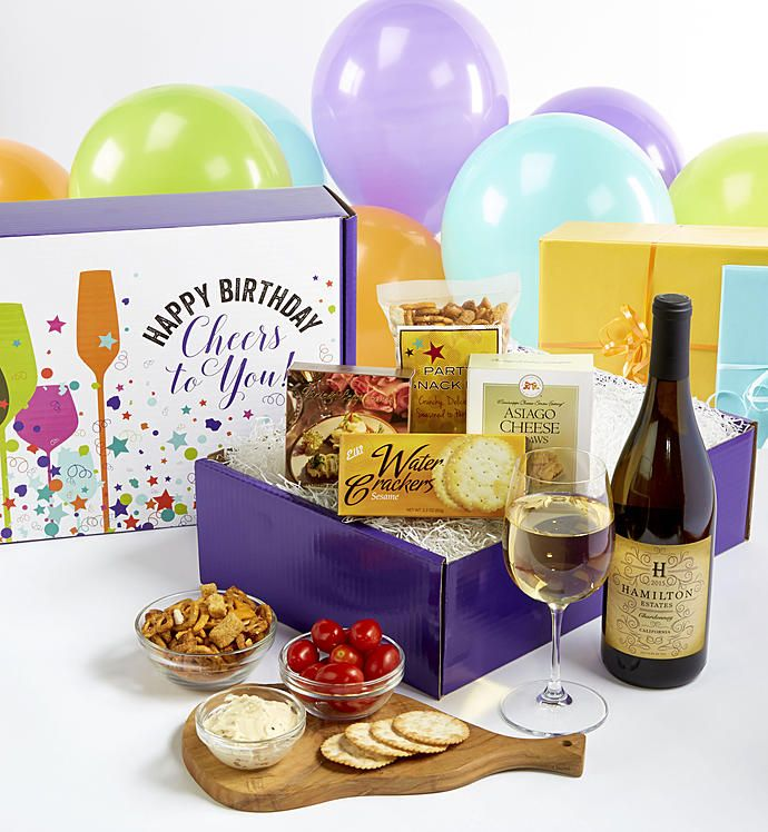 Happy Birthday White Wine And Gourmet Box Gourmet Box Happy