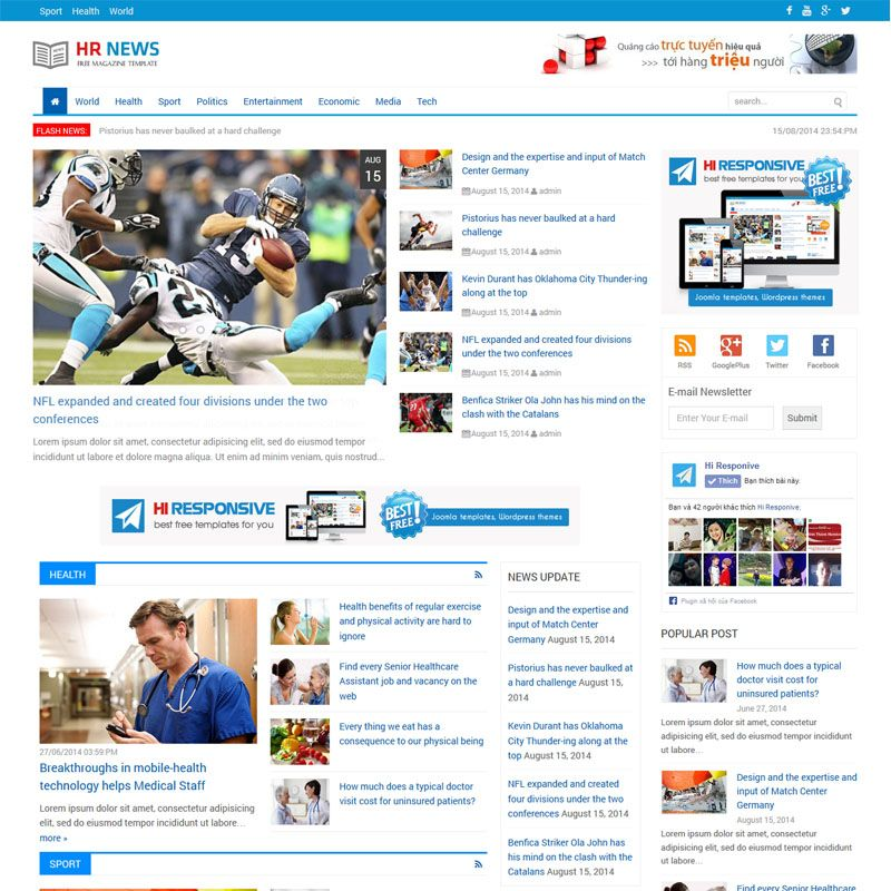 Hr News Is Free Responsive Magazine Theme For WordPress Joomla Templates