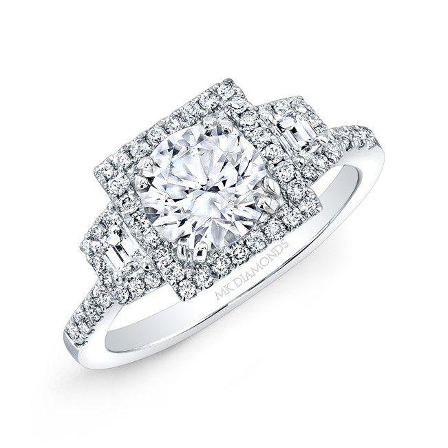 18k White Gold Square Halo Trapezoid Diamond Side Stone Engagement Ring