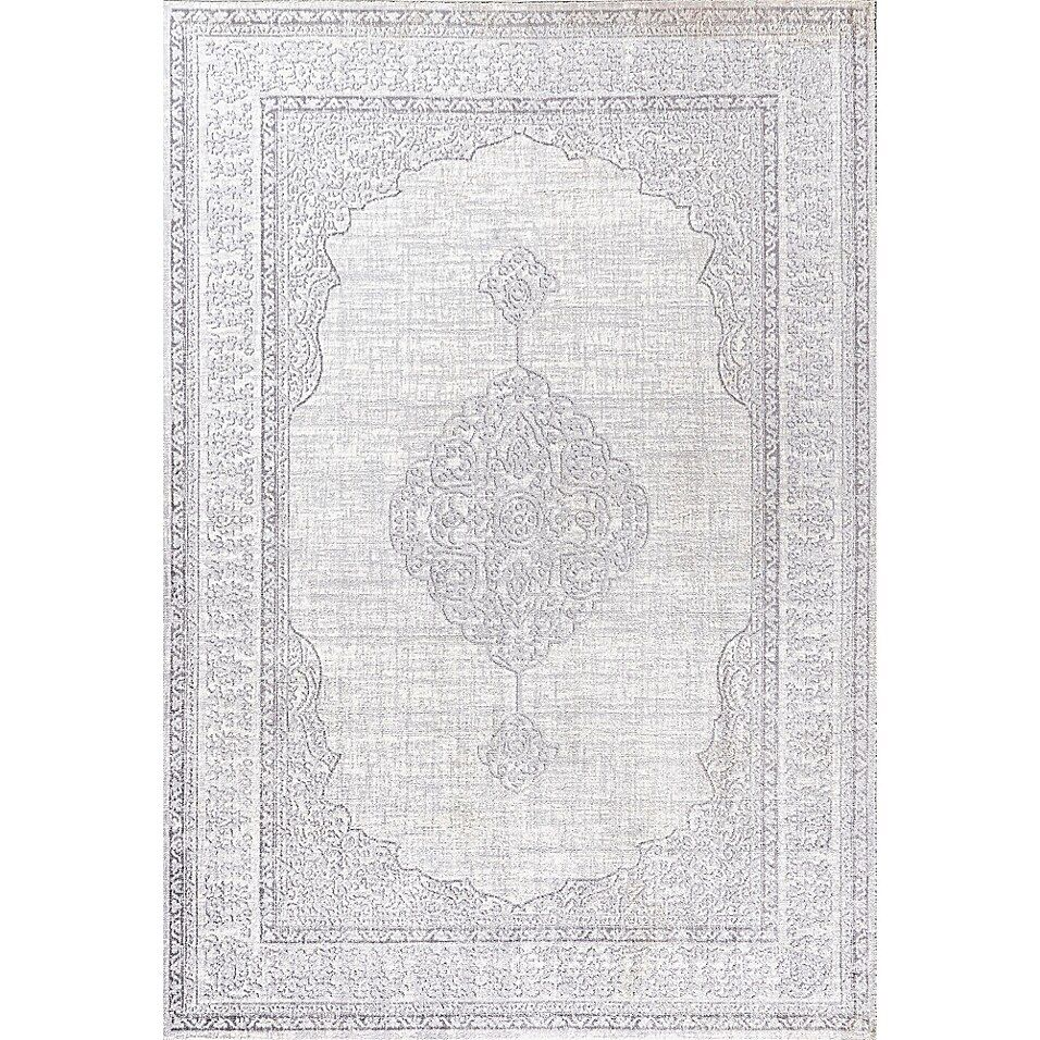 Jonathan Y   Mughal Ornate Medallion Traditional Gray 5' X 8' Area Rug - JONATHAN Y Mughal Ornate Medallion Traditional rug is inspired by traditional Persian rug patterns. The neutral tones are the perfect way to update any places. This versatile and elegant rug works beautifully in both traditional and modern spaces.