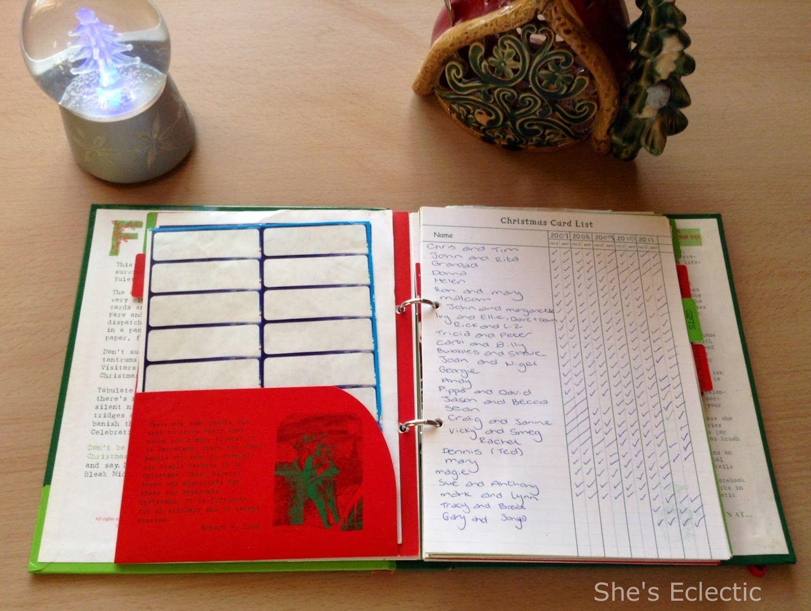 christmas card list sent and received dodo book of christmas