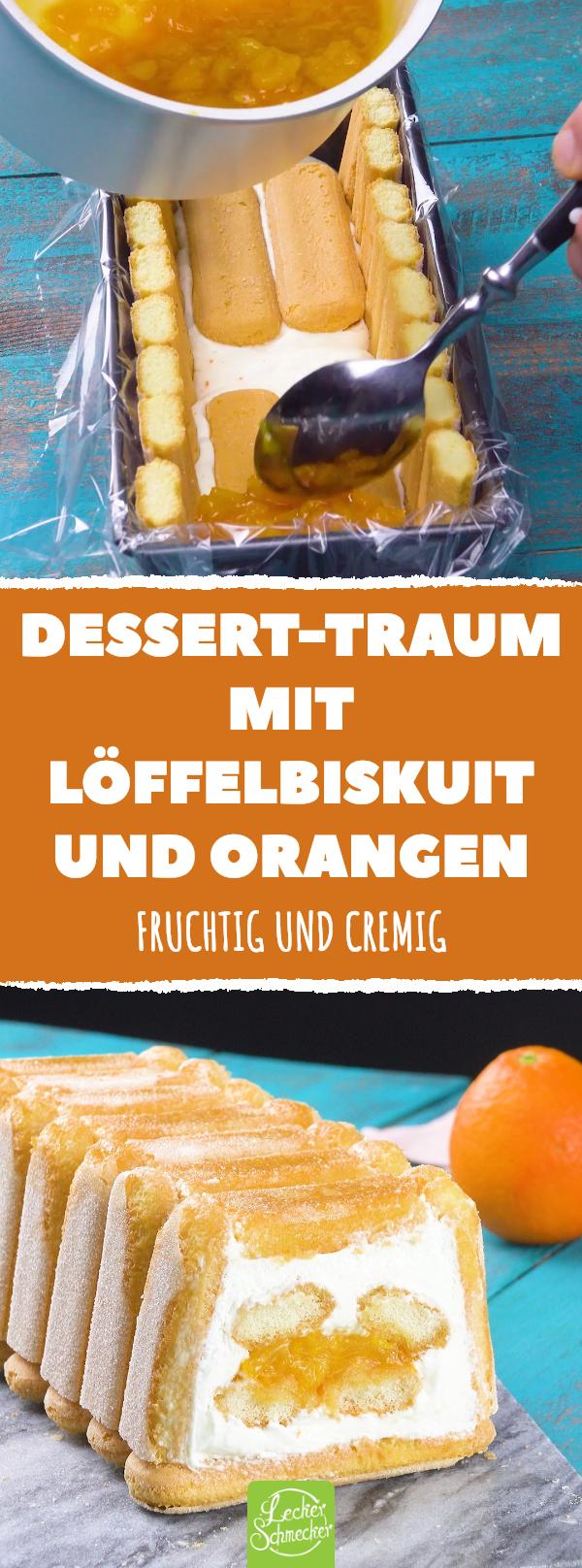 Dieses sommerliche Tiramisu verführt zum Träumen!  #rezept #rezepte #tiramisu #sommer #frucht #orange #sahne #mascarpone #biskuit #löffelbiskuit #kastenform #löffelbiskuitrezept