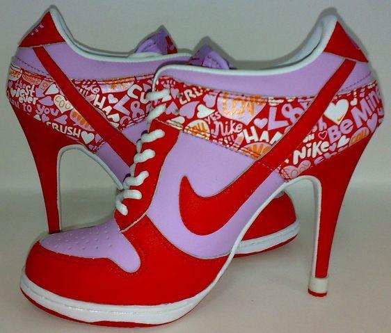 9cd7242ff4595d Womens Love Red White and Fushia Nike High Heels Dunk SB Low