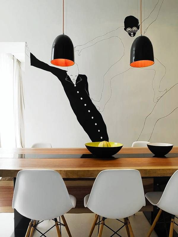 fantastic wall art and pendant lights. by Filippa Knutsson.