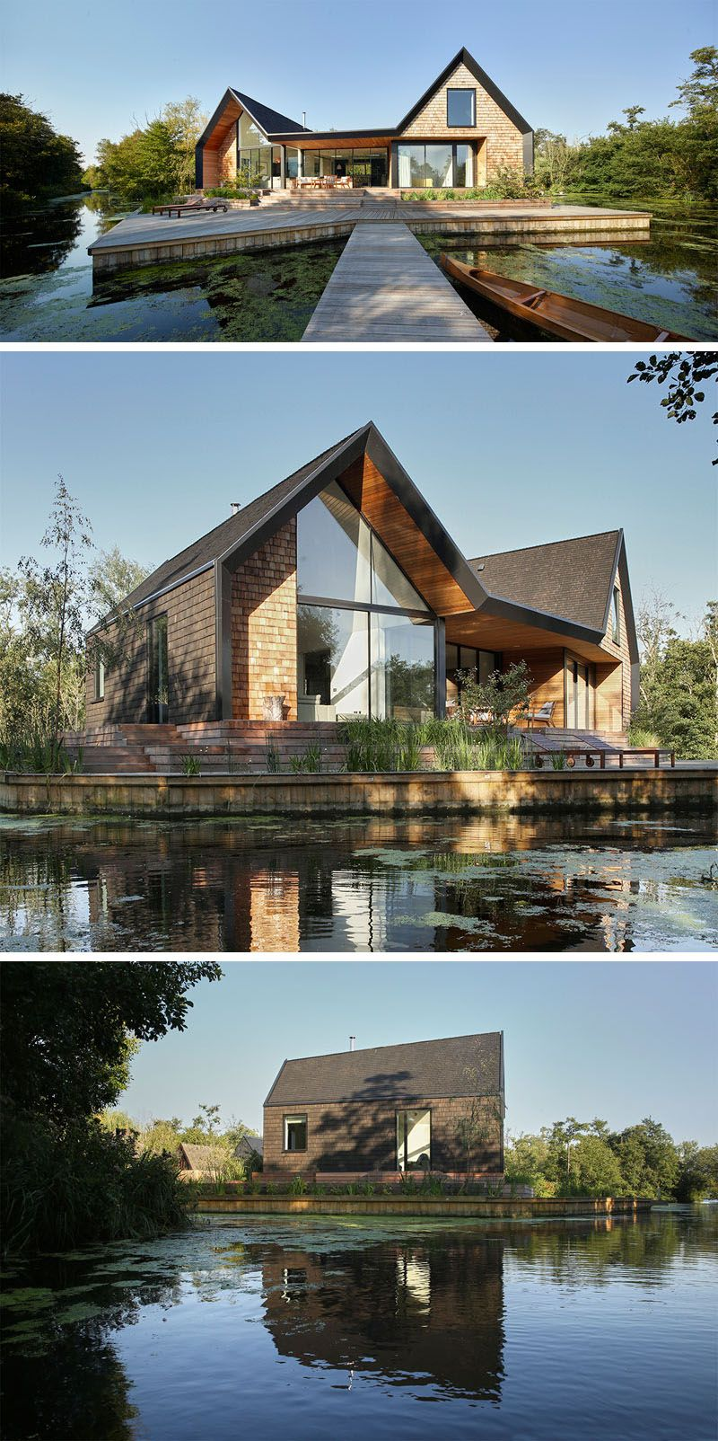This New Modern House Covered In Wood Shingles Has Pitched Roofs, A  Separate Boat Shed, Sits Beside A Secluded Lagoon And Can Also Be Rented  Out For ...