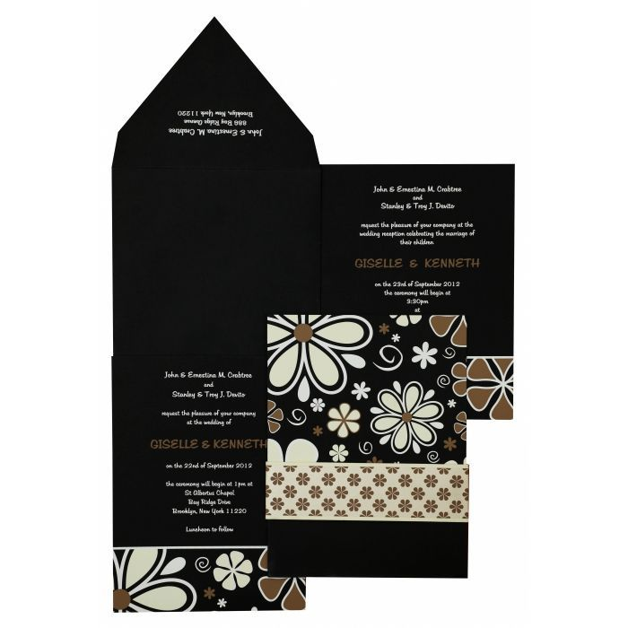 BLACK MATTE FLORAL THEMED - SCREEN PRINTED WEDDING INVITATION : W-842 - 123WeddingCards#floralcards #floralinvitations #floralinvites #floralinvitationcards #weddingcards #weddinginvitations #invitationcards #cards #invitations