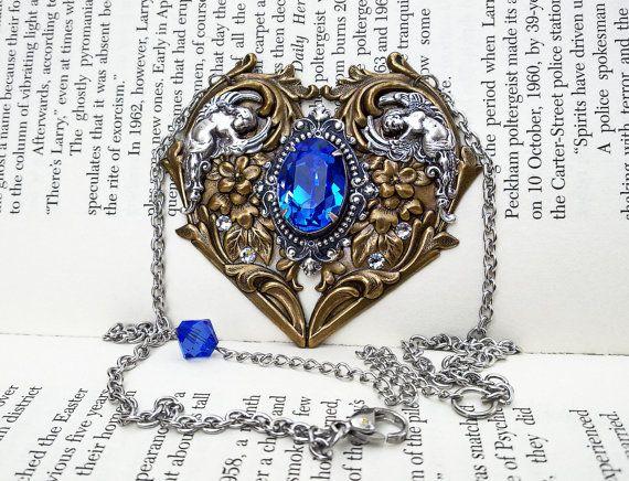 Blue Gothic Necklace Sapphire Swarovski by ApplebiteJewelry 73ca698dad4