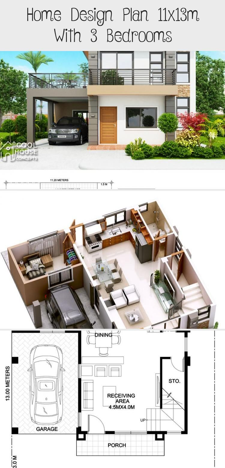 Home Design Plan 11x13m With 3 Bedrooms Home Design With Plansearch Smallhouseplansranch Smallhouseplans120 In 2020 Home Design Plan House Design Small House Plans