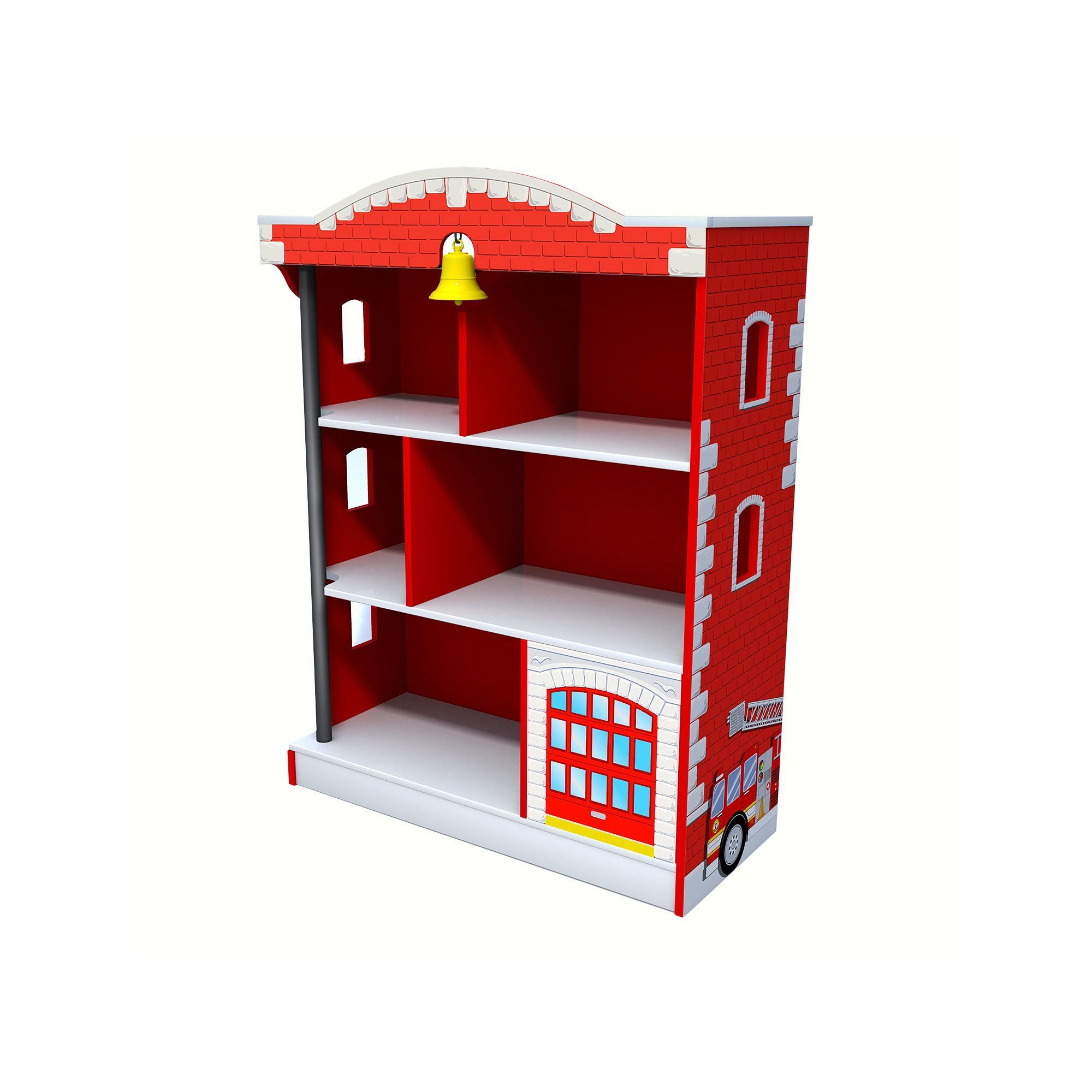 KidKraft Firehouse Bookcase Red