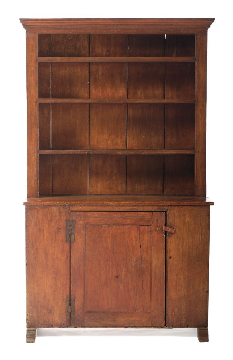 Early Hudson Valley Open Top Stepback Cupboard With Shoe Feet In