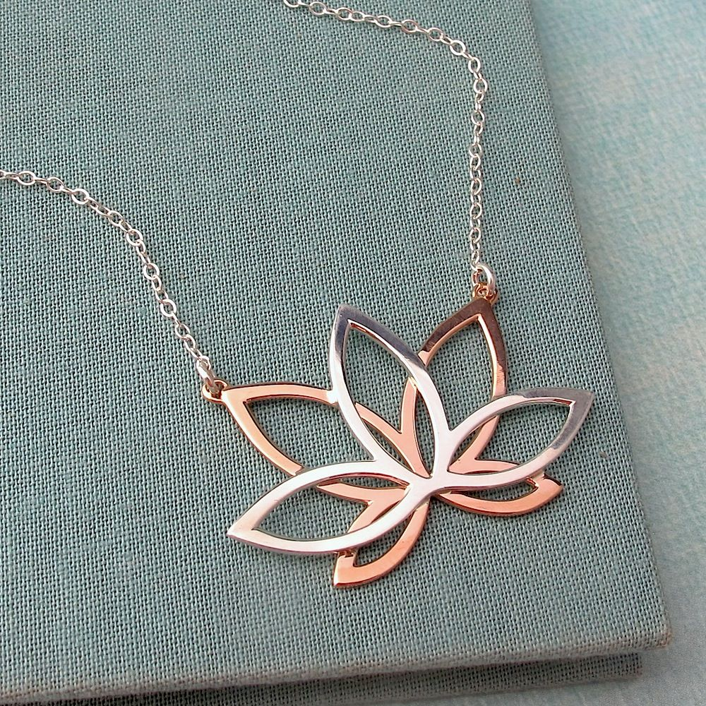 Lotus pendant with twotone 14k Rose Gold and Sterling